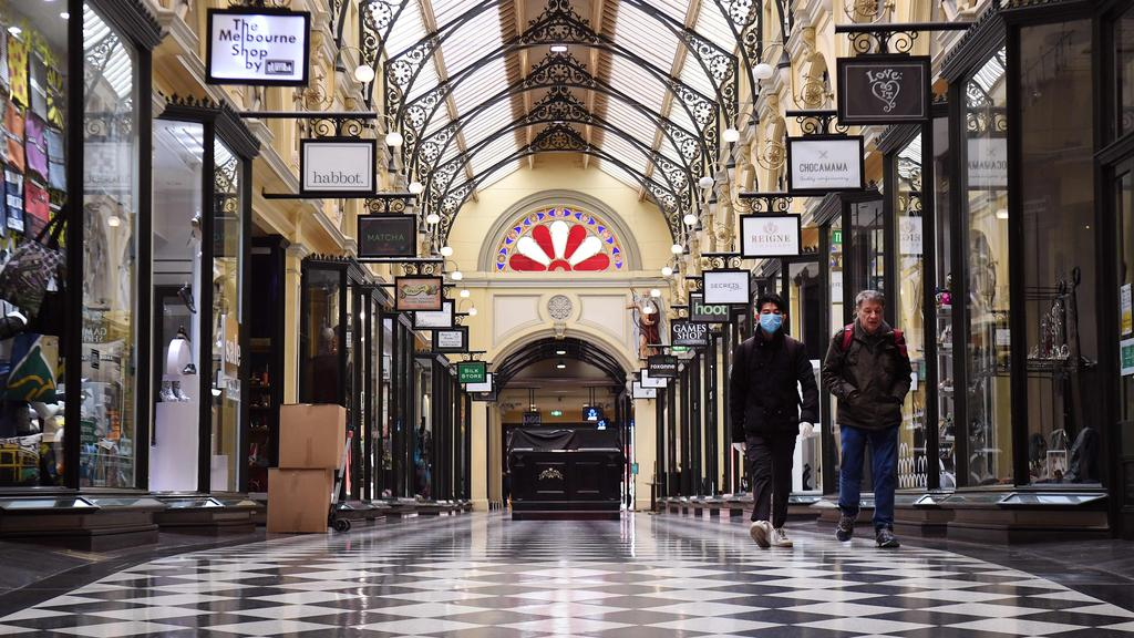 Normally bustling arcades across Melbourne are empty, putting tens of thousands of jobs at risk. Picture: AFP