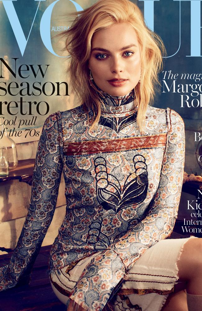 Margot Robbie's first Vogue cover in 2015. Picture: Alexi Lubomirski for Vogue Australia