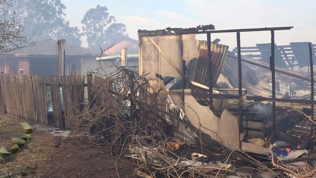 A building destroyed by fire at Bomaderry.