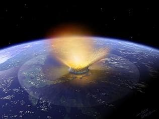 Computer generated simulation shows an asteroid striking thre Earth in Mexico's Yucatan peninsula aropund 150 million years ago.The extinction of the dinosaurs 65 million years ago can be traced to a collision between two monster rocks in the asteroid belt nearly 100 million years earlier, scientists report 05 September 2007. TO GO WITH AFP STORY-Traced: The asteroid breakup that wiped out the dinosaurs by Richard Ingham AFP PHOTO RESTRICTED TO EDITORIAL USE/NO SALES/NO INTERNET/ NO ARCHIVES