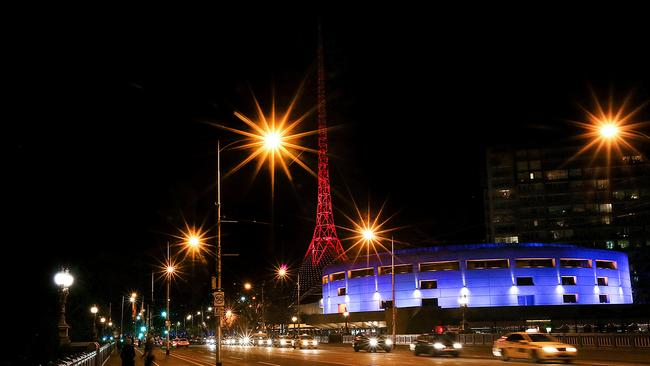 Melbourne Arts Centre lit up in the colours of the Turkish flag.