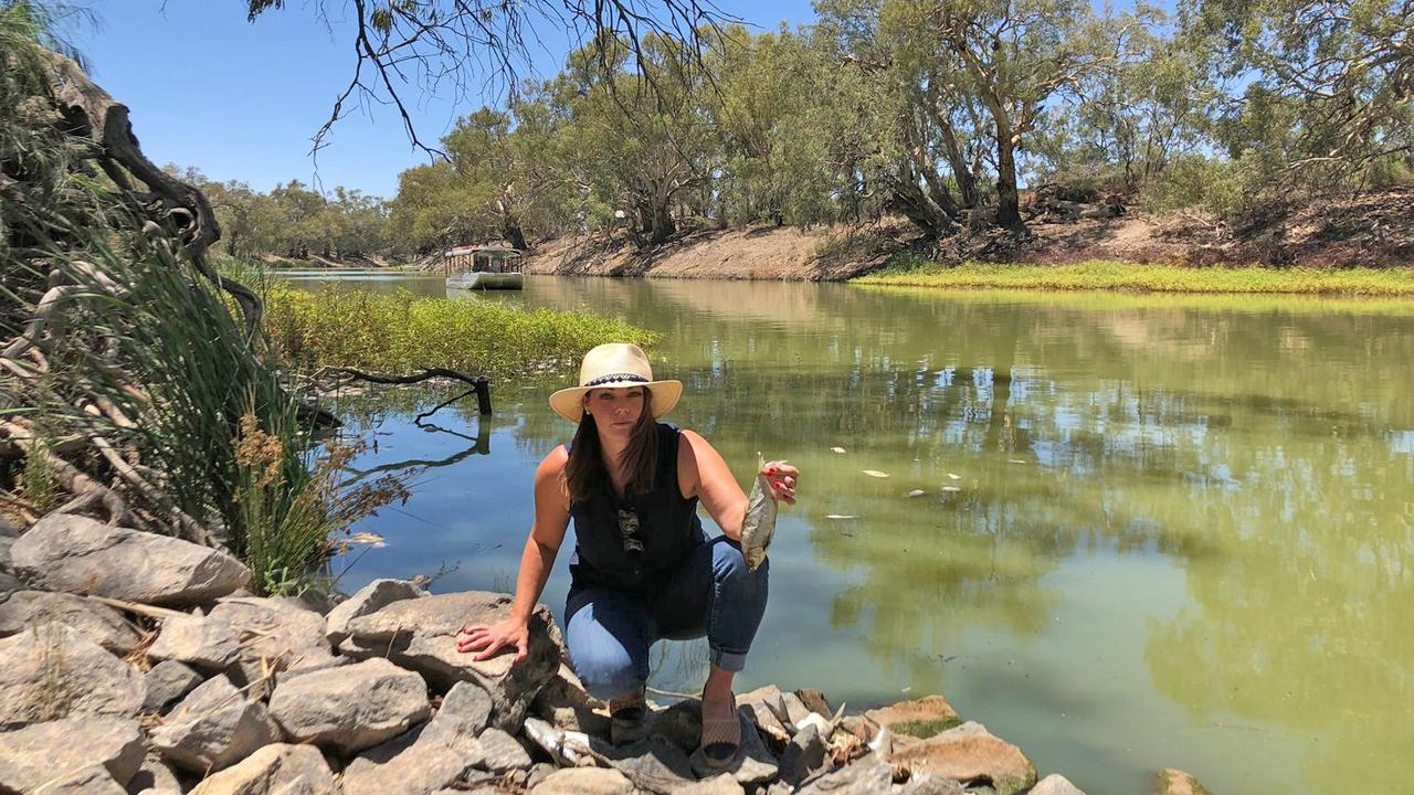 Senator Sarah Hanson-Young of The Australian Greens holding a dead fish at Menindee. Picture: supplied