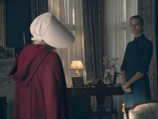 A scene from the TV series  <i>The Handmaid's Tale</i>, set in a world where infertility has produced a fundamentalist Christian society where fertile women are treated as reproductive slaves. Picture: SBS
