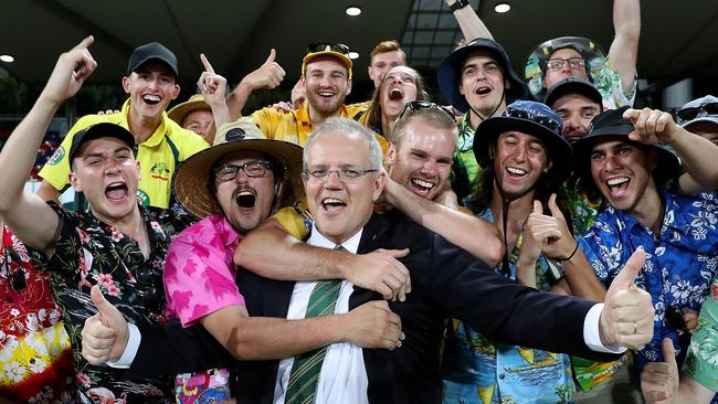 Taking the Bob Hawke approach to popularity: necking beers at the cricket.