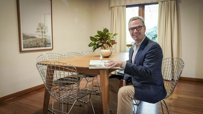 Christopher Pyne in his Wattle Park family home, which has just been listed for sale. PICTURE: AAP/MIKE BURON