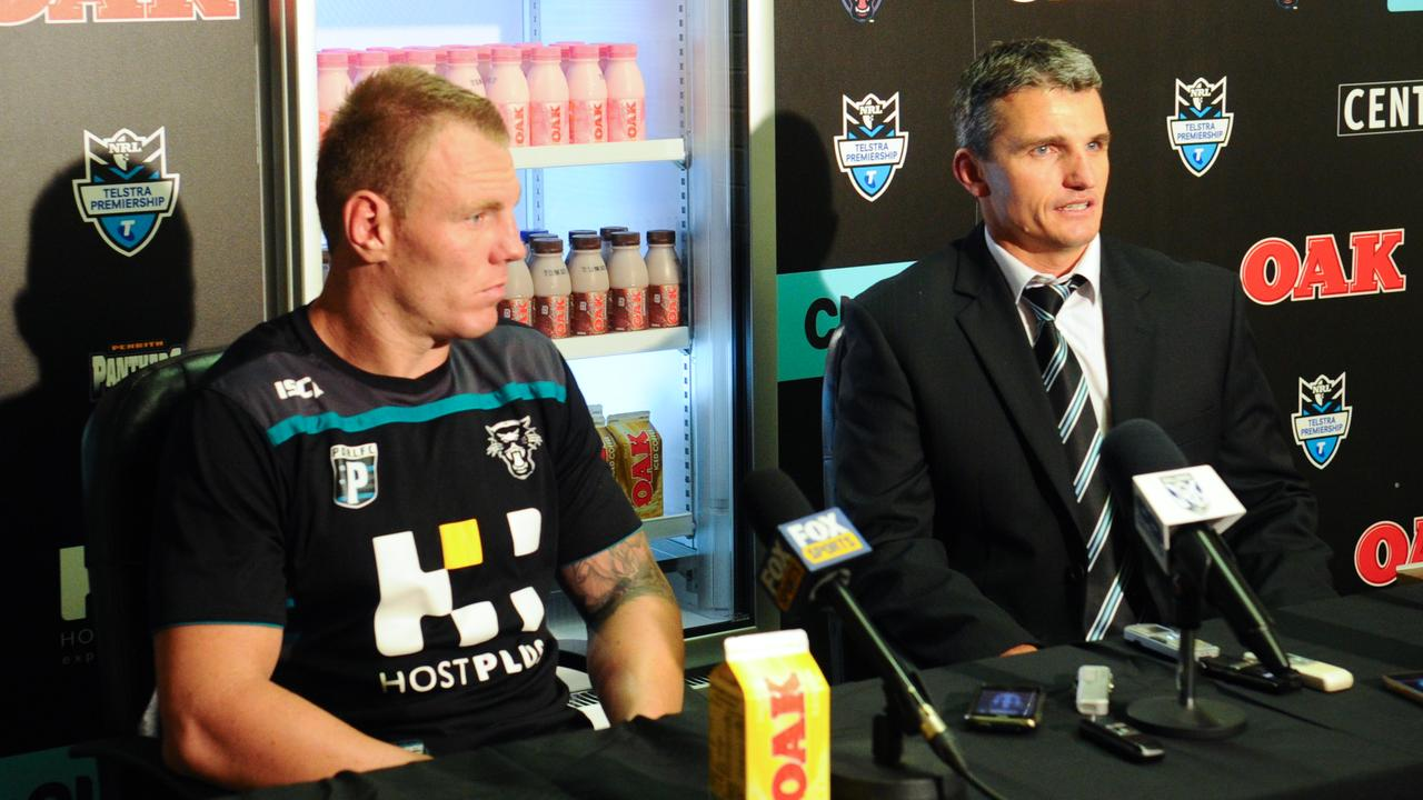 Luke Lewis and coach Ivan Cleary at a media conference in 2012.