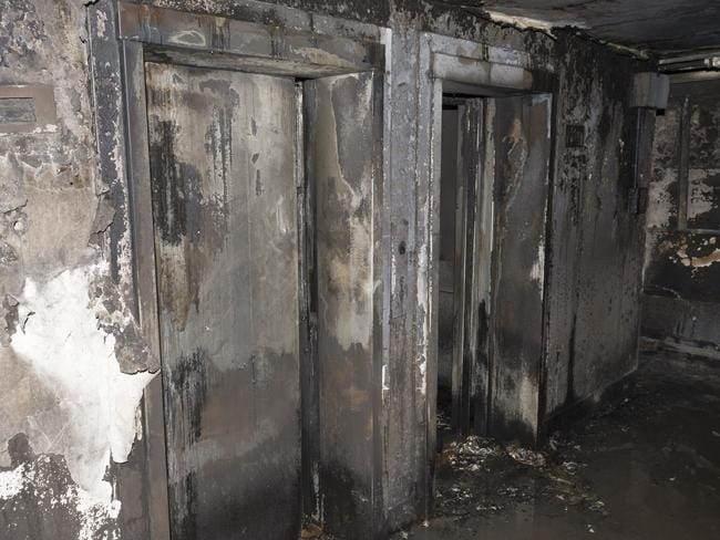 This image shows the charred remains of one of the level's lifts. Picture: London Metropolitan Police