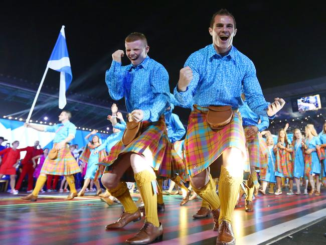 These two look pretty pumped to be wearing kilts.