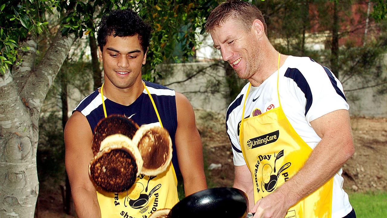 Karmichael Hunt and Brad Thorn flip pancakes way back in their Broncos days.