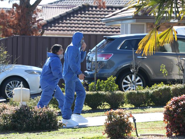 Police Forensics pictured at the crime scene. Picture: David Swift.
