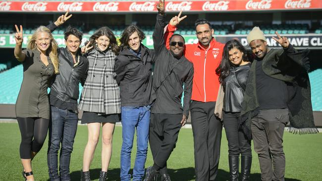Game on ... Team Will with coach will.i.am and Swans star Adam Goodes. Picture: Stuart Bryce