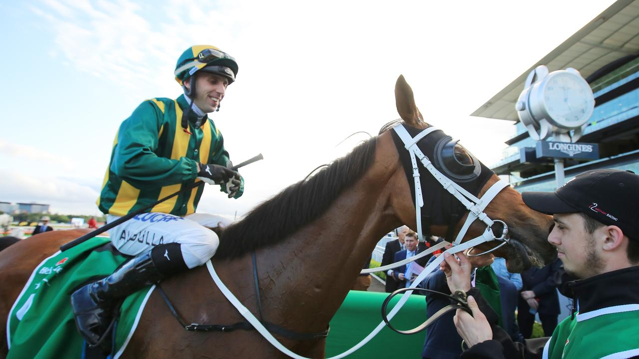 Brenton Avdulla on Come Play With Me returns to scale after winning the Metropolitan at Royal Randwick Racecourse
