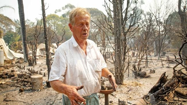 Rex Newton, 69, surveys the remains of his Bunyip North home. Picture: Mark Stewart