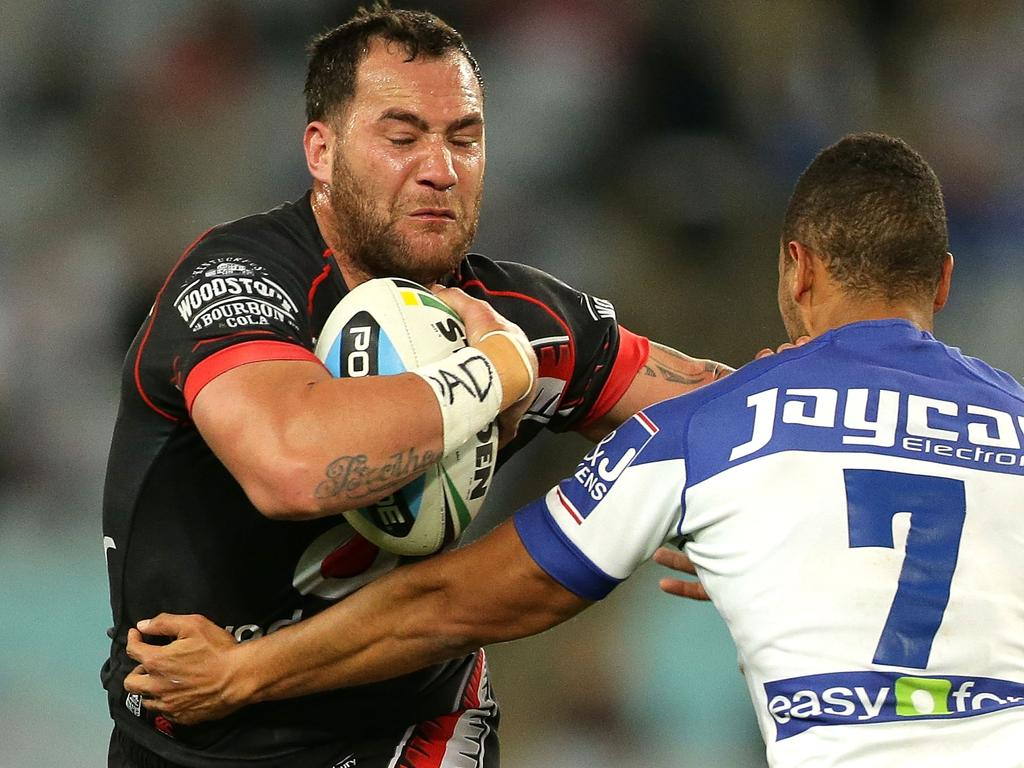 Bodene Thompson in action in 2016 for the NZ Warriors.