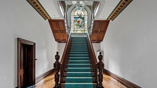 Visitors to the apartment complex are greeted by this spectacular entry hall.
