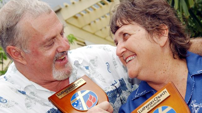 Malcolm and Esme Beck pictured in 2004 after completing 40 years' service with Lutheran Education Australia. Picture: Aaron Curran.