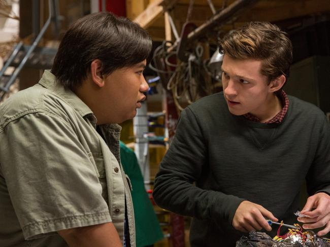 Tom Holland, pictured here in Spider-Man: Homecoming with Jacob Batalon, is a younger version of the character, giving the movie a John Hughes feel. Picture: Sony Pictures