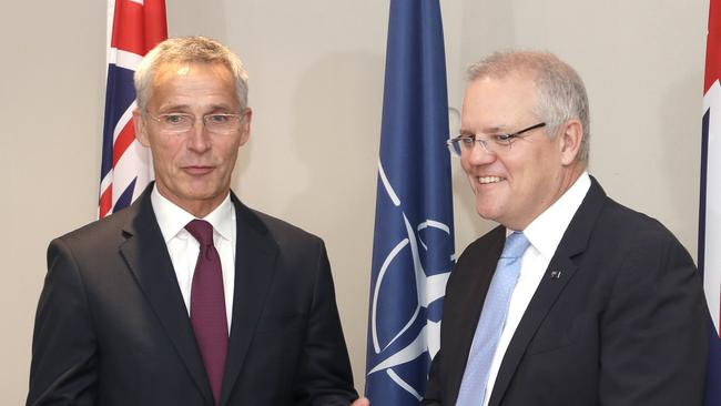 Australian Prime Minister Scott Morrison, right, meets with NATO Secretary-General Jens Stoltenberg in Sydney. Picture: AP Photo/Rick Rycroft