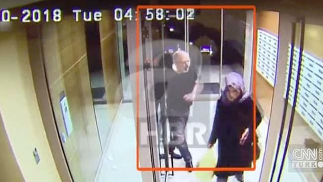 Jamal Khashoggi filmed on CCTV. Picture: Turkish media