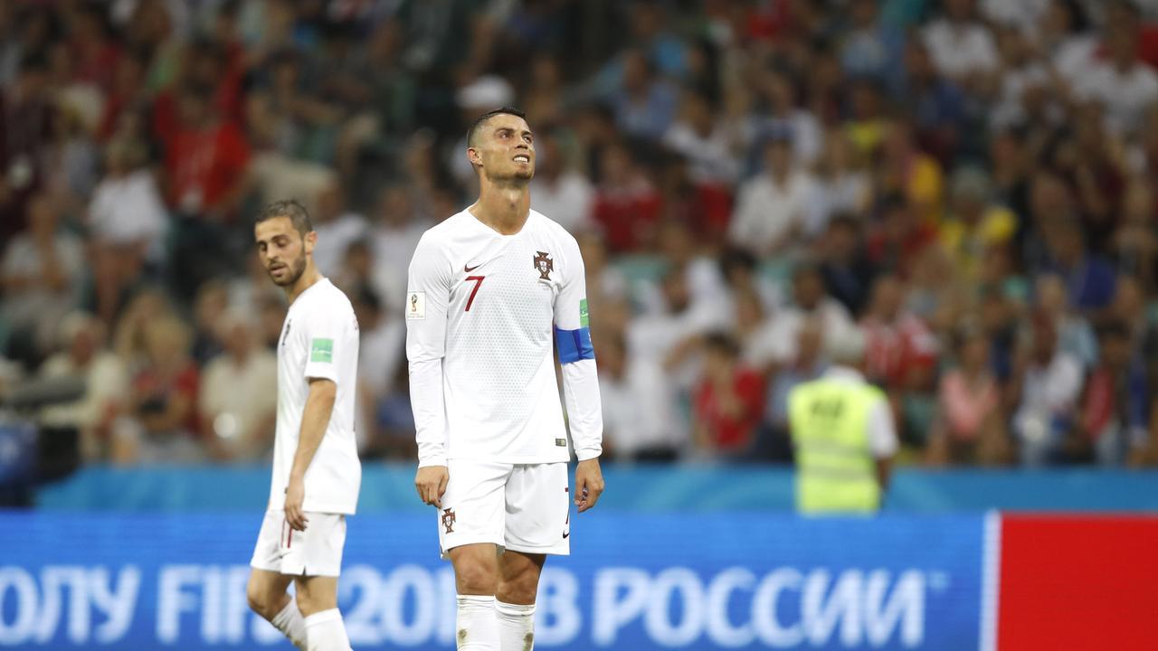 Cristiano Ronaldo of Portugal reacts
