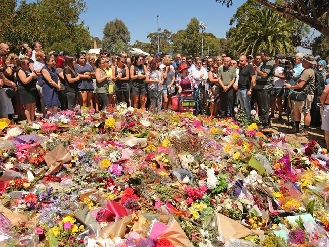 Mourners gather at the vigil. Picture: Stuart McEvoy/The Australian.