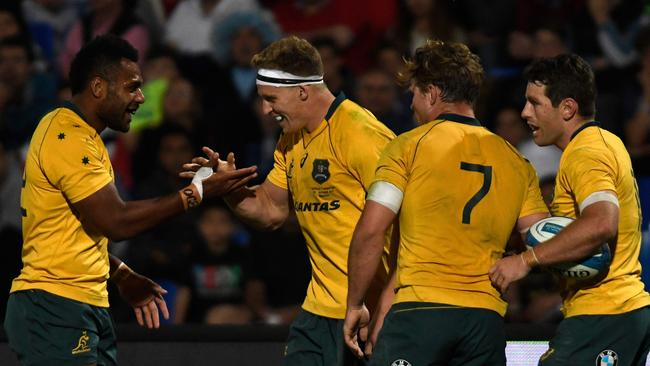 A double to Reece Hodge helped the Wallabies to a hard fought win over Argentina in Mendoza.