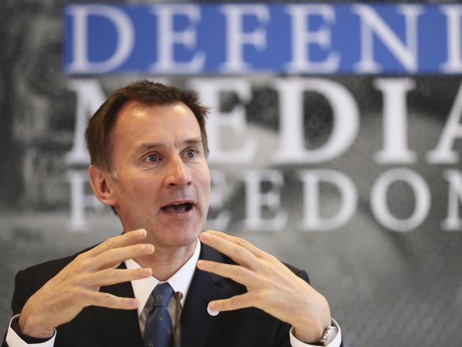 Britain's Foreign Secretary Jeremy Hunt speaks during a Foreign Ministers G7 meeting in Dinard, Brittany. Picture: AP