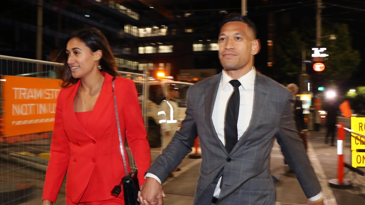 Israel Folau and wife Maria Folau leave the Federal Circuit Court in Melbourne.