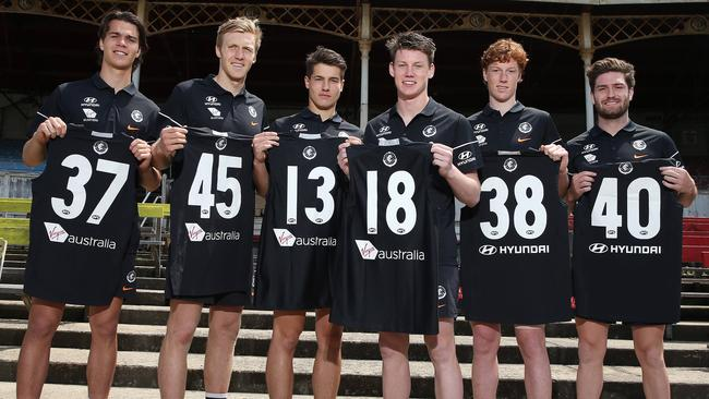 Carlton recruits (from left) Ben Silvagni, Hugh Goddard, Liam Stocker, Sam Walsh, Finbar O'Dwyer and Tomas Bugg. Picture: Michael Klein