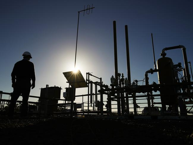 A Santos Ltd. pilot well operates on a farm property in Narrabri, Australia, on May 25. Picture: Brendon Thorne/Bloomberg