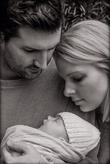 Kristy and Josh's perfect little boy arrived on born on July 17. Source: Madeline Cox