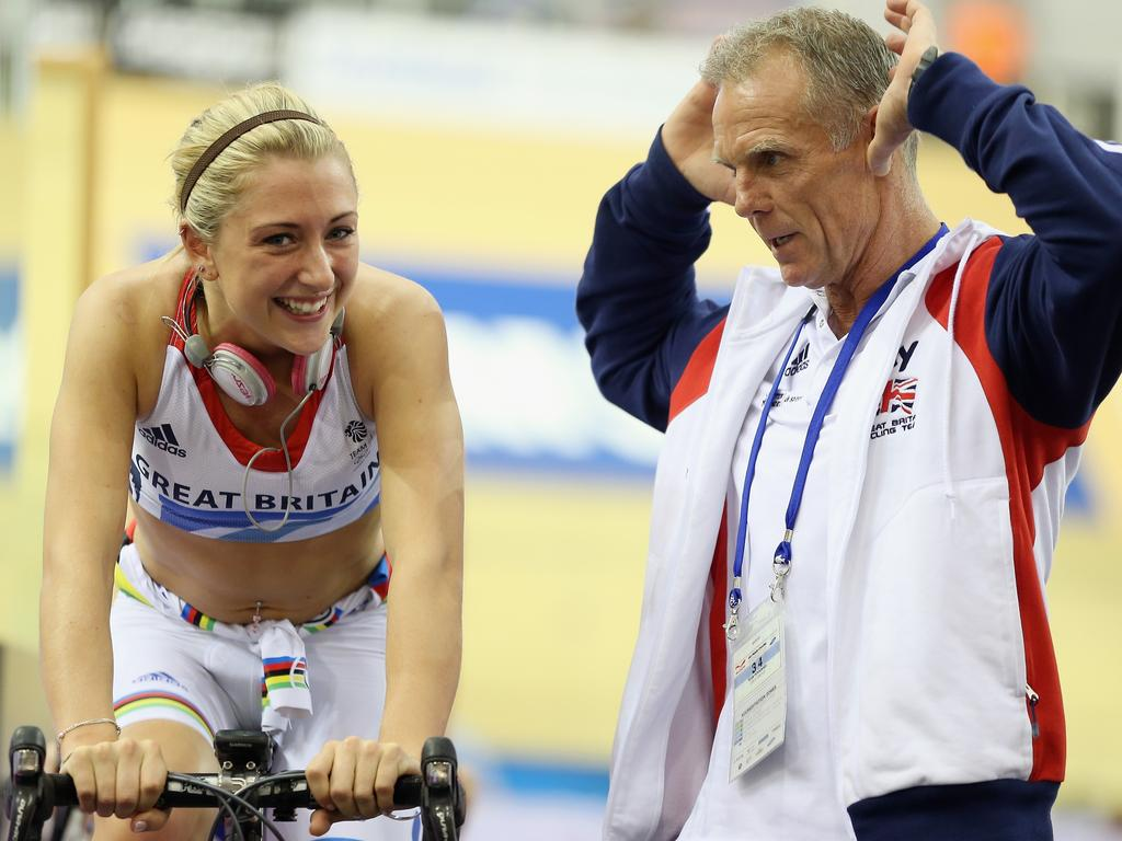 GLASGOW, SCOTLAND - NOVEMBER 16: Laura Trott of Great Britain chats to British Cycling Coach Shane Sutton as she warms up for Women's Team Pursuit qualifying session on day one of the UCI Track Cycling World Cup at the Sir Chris Hoy Velodrome on November 16, 2012 in Glasgow, Scotland. (Photo by Bryn Lennon/Getty Images)