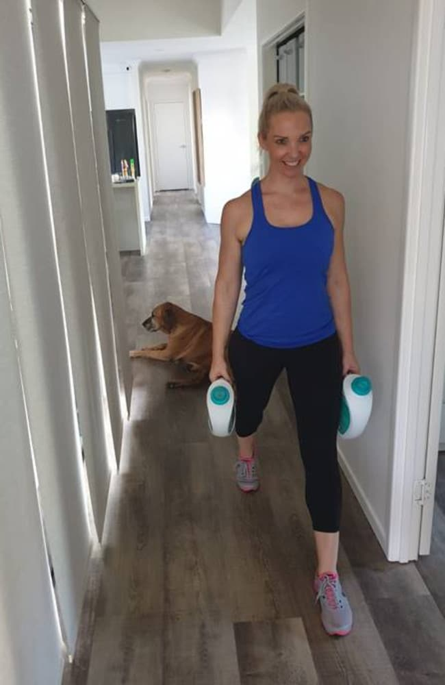 Chantal Brodrick, host of The Fitness Business Podcast, uses washing detergent for lunges. Picture: Supplied