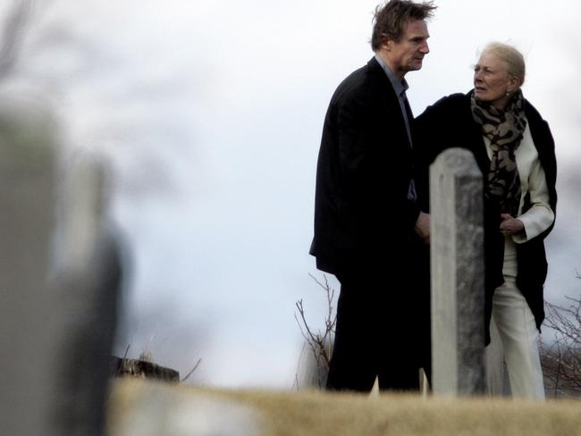 Actor Liam Neeson and his mother-in-law Vanessa Redgrave walk through St. Peter's Cemetery in Lithgow, New York after a funeral for his wife, Natasha Richardson. Picture: Supplied