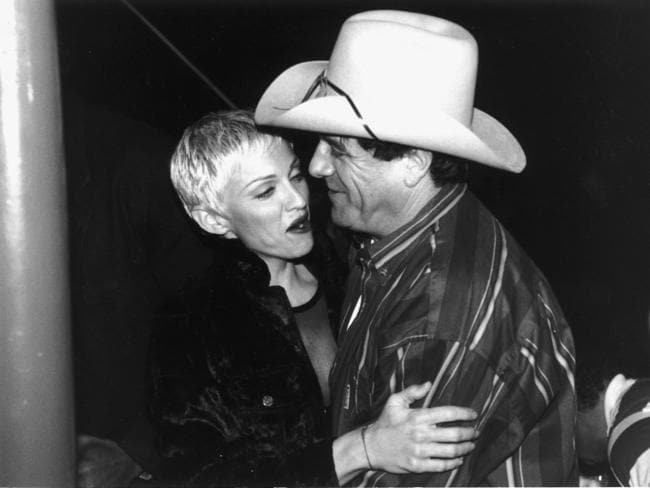 Madonna reunites with Molly Meldrum on her 1993 Australian tour. Picture: Supplied