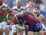 Trent Hodkinson of the Knights scores a try during the round three NRL match between the Newcastle Knights and the South Sydney Rabbitohs.