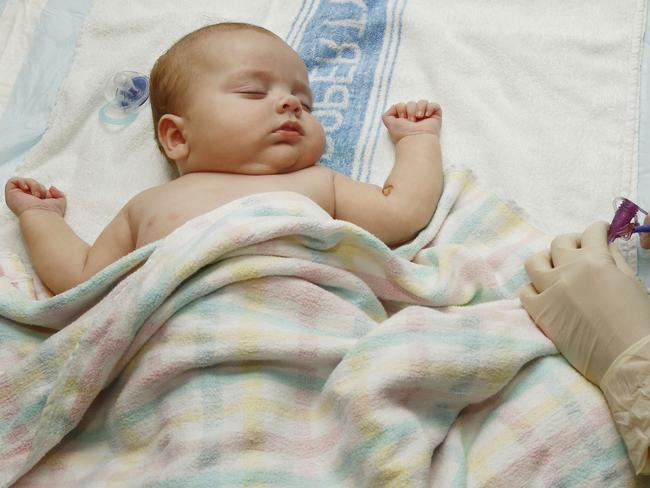 Four-month-old John Dixon's kidney failure requires dialysis for up to 10 hours a day. Picture: John Appleyard