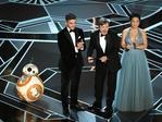Oscar Isaac, Mark Hamill and Kelly Marie Tran speak onstage during the 90th Annual Academy Awards on March 4, 2018 in Hollywood, California. Picture: Getty