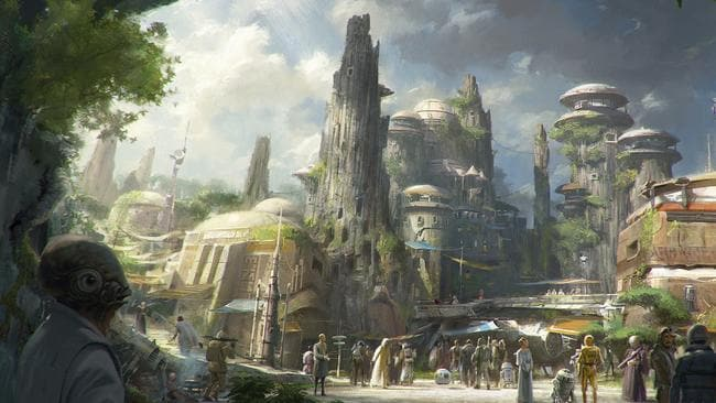 The planned Black Spire Outpost, a village on the planet of Batuu that will be part of a 14-acre expansion project called Star Wars: Galaxy's Edge. Picture: Disney Parks/Lucasfilm via AP.