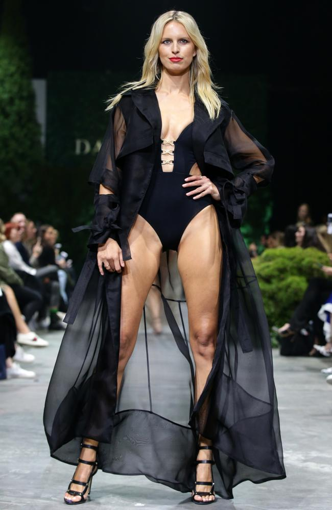 Model Karolina Kurkova wearing Jets during the dress rehearsal of the David Jones Spring Summer 2018 Collections Launch held at Fox Studios Australia in Moore Park. Picture: Jonathan Ng