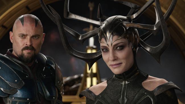 Karl Urban and Blanchett in a scene from,  <i>Thor: Ragnarok</i>. Picture: Marvel Studios / AP.