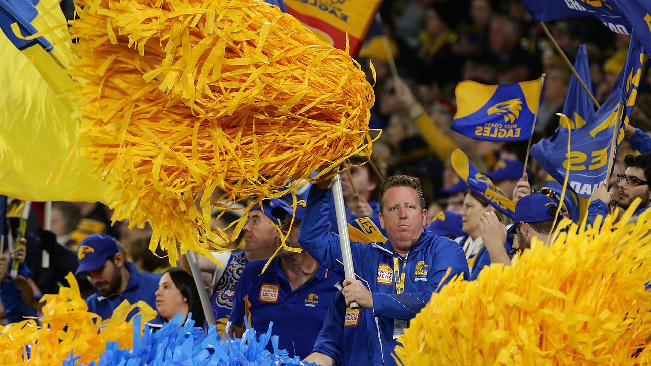 West Coast Eagles fans celebrate a goal. Photo: Will Russell/AFL Media/Getty Images