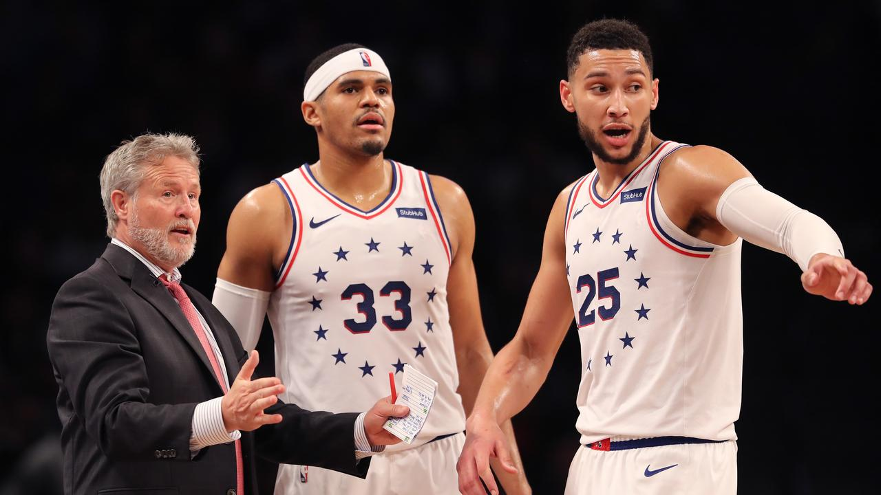 innovative design 6bd28 8a1da Brown keeps Simmons and 76ers away from NBA's white noise