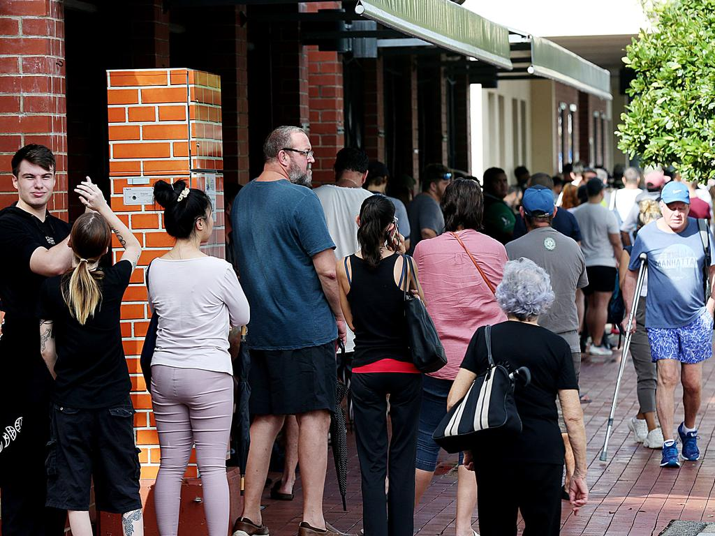 People lined up at Centrelink in Cairns CBD, Queensland. Picture: Stewart McLean