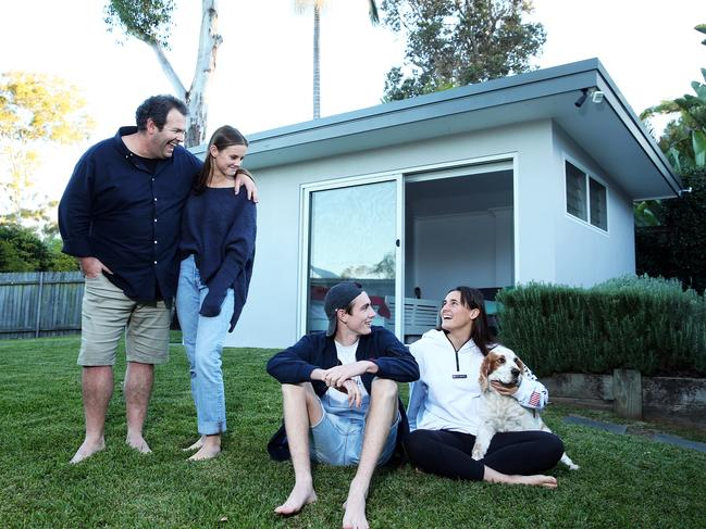 Triple M breakfast host Gus Worland, at home with his three kids Jack, Ella and Abbey, in Elanora Heights.