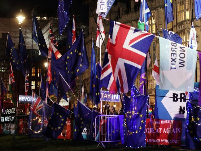 Anti-Brexit activists protest outside the Houses of Parliament on October 22, 2019 in London, England. Picture: Getty Images
