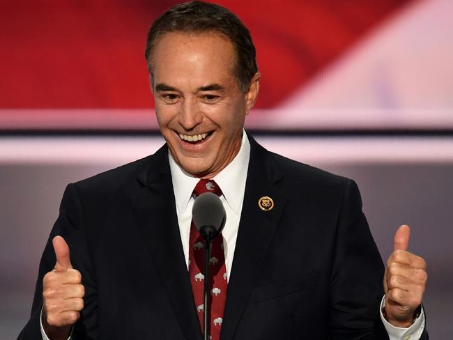 US Republican Chris Collins delivers a speech on the second day of the Republican National Convention in July 2016, supporting Donald Trump. Picture: AFP