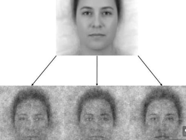 The top image shows a composite of 50 faces that represents the collective demographics of the US population. Below are three of the 300 stimuli created by adding visual noise to the base image which participants could use to customise their image of God. Picture: The University of North Carolina