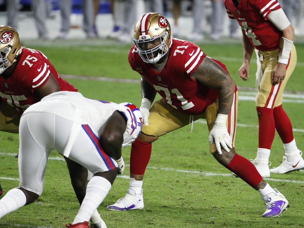 Trent Williams will be protecting the blind side of Jimmy Garoppolo – or whichever quarterback ends up behind centre in San Francisco. (Photo by Ralph Freso/Getty Images)