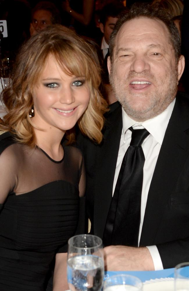 Jennifer Lawrence and producer Harvey Weinstein in 2013. Picture: Jason Merritt